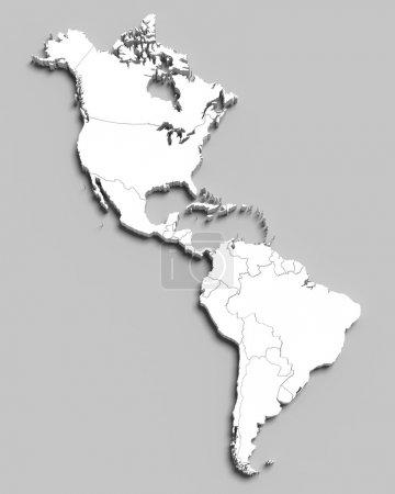 Photo pour 3D carte blanche du Sud et pays d'Amérique du Nord sur fond gris isolé - image libre de droit
