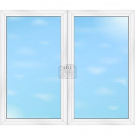 Illustration for Blue sky behind the windows, vector eps10 illustration - Royalty Free Image