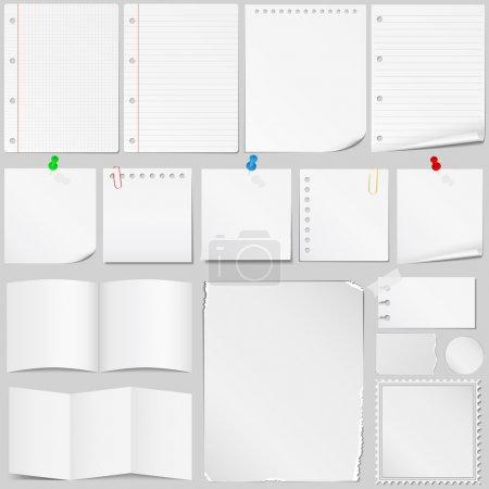 Illustration for Set of different paper, vector eps10 illustration - Royalty Free Image