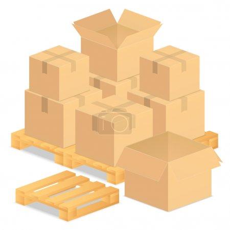 Illustration for Cardboard boxes, vector eps10 illustration - Royalty Free Image