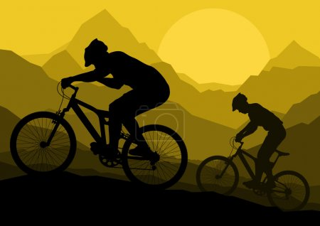 Illustration for Mountain bike bicycle riders in wild mountain nature landscape background illustration vector - Royalty Free Image