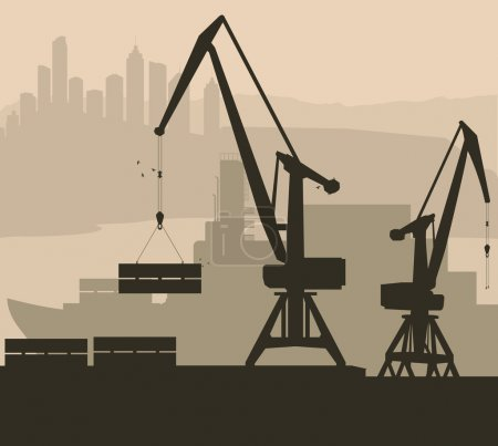 Harbor port crane with ship vector background