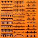Bridge construction silhouettes illustration colle...