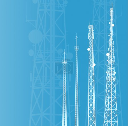 Telecommunications tower, radio or mobile phone base station vec