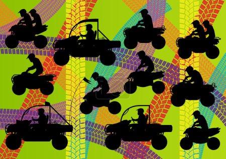 All terrain vehicle quad motorbikes riders illustration collecti