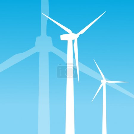 Wind electricity generators vector background
