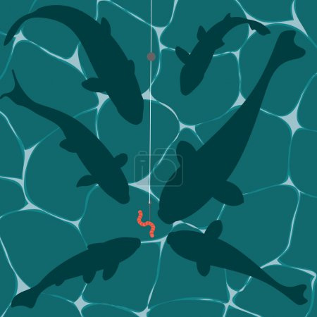 Illustration for Fishes and a worm on a fish hook underwater vector - Royalty Free Image