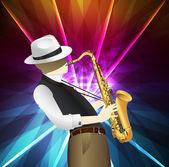 Saxophone player in skyscraper city landscape background illustration