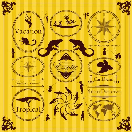 Vintage exotic tropical labels and elements illust...