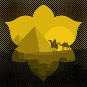 Pyramids and camel caravan in wild africa landscape illustration vector
