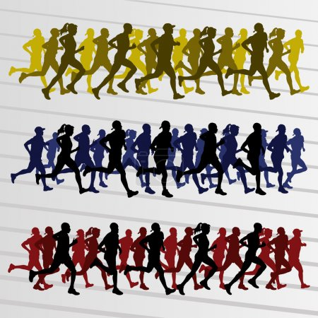 Marathon runners silhouettes illustration vector