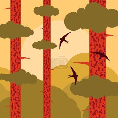 Bird flying in pine tree forest landscape background illustration vector