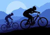 Mountain bike rider in landscape background illustration vector