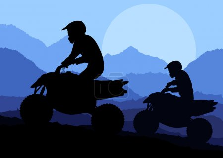 All terrain vehicle quad motorbikes and dune buggy riders illustration