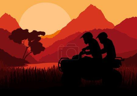 All terrain vehicle quad motorbike riders in wild nature landscape