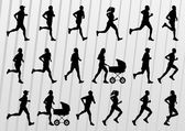 Marathon runners silhouettes illustration vector