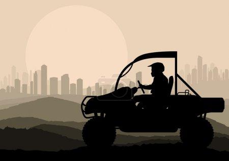 All terrain vehicle motorbike rider in skyscraper city landscape background