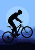 Mountain bike trial rider in wild nature landscape background illustration