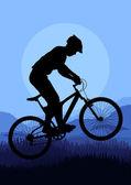 Mountain bike trial rider in wild nature landscape background illustration