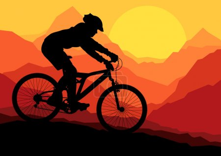 Illustration for Mountain bike bicycle riders in wild nature landscape background illustration vector - Royalty Free Image