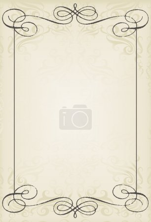 Illustration for Vintage wedding frame vector background card for poster - Royalty Free Image