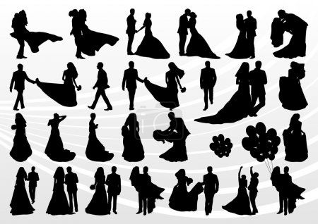 Illustration for Bride and groom in wedding silhouettes illustration collection background - Royalty Free Image