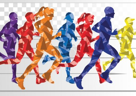 Marathon runners colorful background illustration vector
