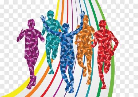 Marathon runners colorful background illustration vector