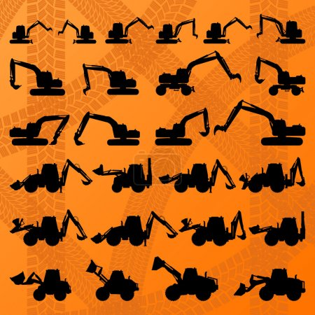 Construction site loaders machinery detailed editable silhouettes illustration collection background vector
