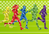 Family marathon runners landscape background illustration vector for poster