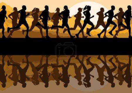 Marathon runners in wild nature mountain landscape background illustration vector
