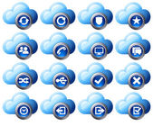 Virtual cloud icons upload download buttons phone restore backup and save computer files and digital media