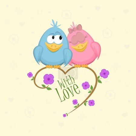 Illustration for Love birds on the branch with flowers and leaves. Vector Illustration. - Royalty Free Image