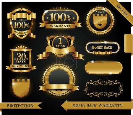 Illustration for Vector 100% satisfaction guaranteed label and protection sign - Royalty Free Image