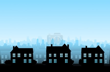 Illustration for Cityscapes silhouettes background - Royalty Free Image