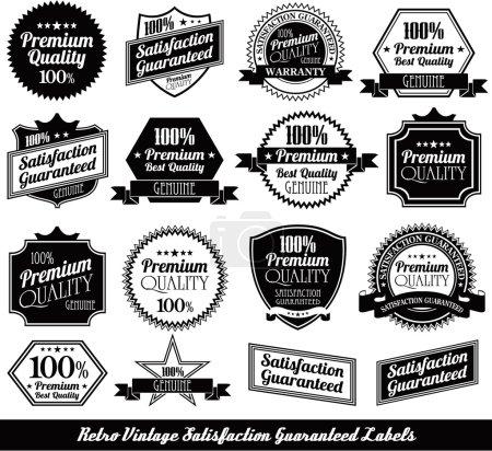 Ilustración de Colección de sellos de calidad premium con diseño retro - Imagen libre de derechos