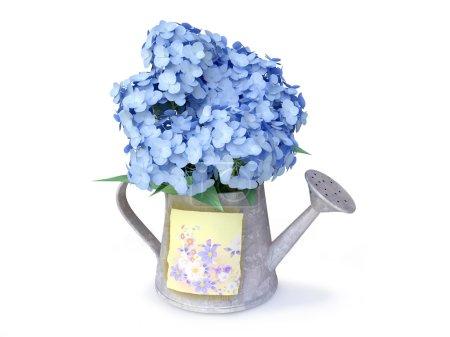 Foto de Bpoquet 3D de hortensias azules en una regadera- - Imagen libre de derechos