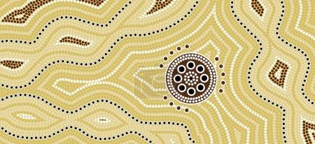 Illu.based on aboriginal style of dot painting Desert