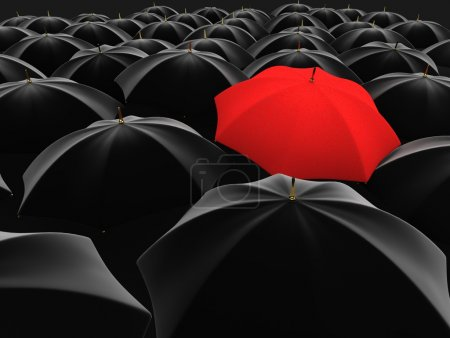 Photo for 3d illustration of a red umbrella in the middle of several black umbrellas - Royalty Free Image
