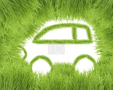 Foto de El coche ecológico de hierba verde aislado sobre un fondo blanco - Imagen libre de derechos
