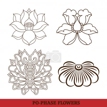 Chinese virtual po-phase flowers set: lotus,Paeonia suffruticosa