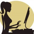 Illustration of a young woman working on computer....