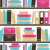 Seamless pattern with books placed on a bookshelf