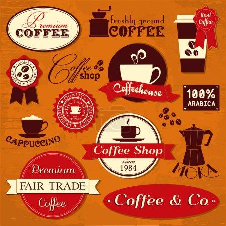 Illustration pour Une collection d'éléments de conception du café dans un style rétro. - image libre de droit