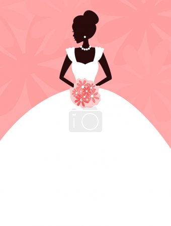 Illustration for Vector illustration of a young elegant bride holding flowers. background and bride are grouped and placed on separate layers for easy editing. - Royalty Free Image