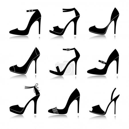 Illustration pour Illustration vectorielle de neuf modèles différents de chaussures à talons hauts. Chacun est groupé et peut être utilisé séparément . - image libre de droit