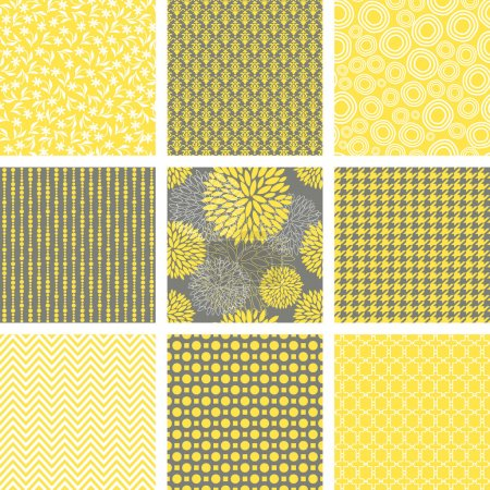 Illustration for A set of nine abstract seamless patterns in yellow, grey and white. - Royalty Free Image