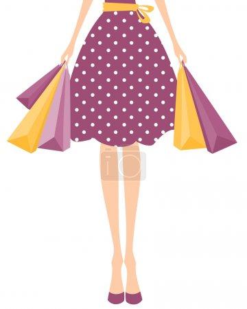 Illustration pour Illustration d'une fille en robe à pois mignon tenant des sacs à provisions . - image libre de droit