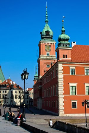 Unusual point of shooting. Royal castle in Warsaw. Poland