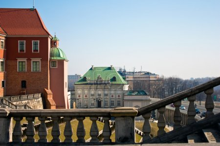 Warsaw . An unusual point of shooting. Royal castle in Warsaw. Poland